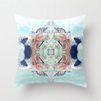 hokusai Throw Pillows featuring Hokusai Mandala by PatriciaRoberta