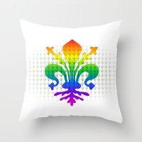 fleur de lis Throw Pillows featuring Rainbow Fleur-de-Lis by Cool Prints