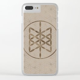 Web of Wyrd in Flower of life Pastel Gold Clear iPhone Case