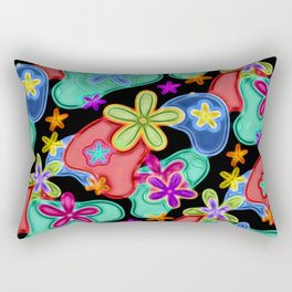 Colorful Retro Flowers Fractalius Pattern Rectangular Pillow