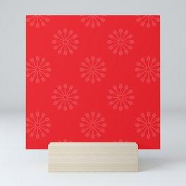 Snowflakes - red and white Mini Art Print