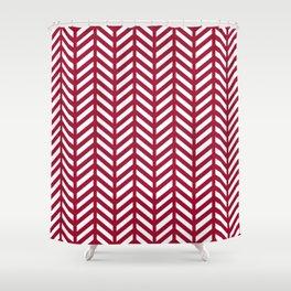 Herringbone - Red Shower Curtain