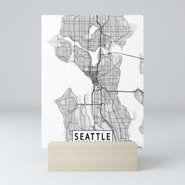 Seattle City Map of the USA - Light Mini Art Print