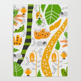 Cute mice in a tropical decor Poster
