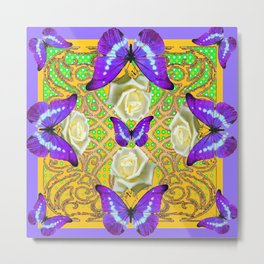 LILAC PURPLE BUTTERFLIES ABSTRACT GARDEN Metal Print