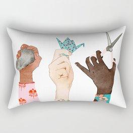Watercolor Art, Diverse Art, Girls Rule, Women Art, Feminine Rectangular Pillow
