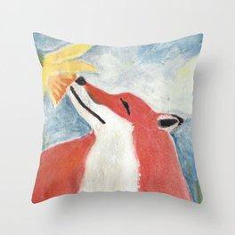 Fox and Daffodil Throw Pillow