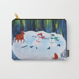 Christmas Night with dancing snowmen Carry-All Pouch