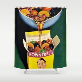 Vintage 1952 Rowntrees Fruit Gums Candy Wall Art Advertising Shower Curtain