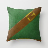 video game Throw Pillows featuring Video Game Poster: Adventurer by Justin D. Russo