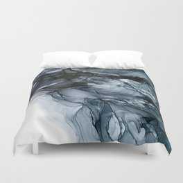 Dark Payne's Grey Flowing Abstract Painting Duvet Cover