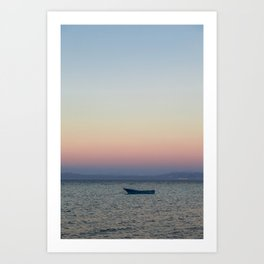 rowboat and rainbow sky Art Print