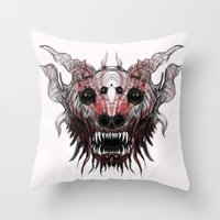 beast Throw Pillows featuring Beast by WES EXOTIC IMAGERY