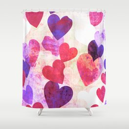 Fab Pink & Purple Grungy Hearts Design Shower Curtain