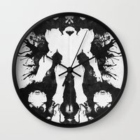 psychology Wall Clocks featuring Samus Aran Metroid Geek Psychological Diagnosis Ink Blot  by Barrett Biggers