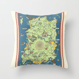 Vintage Map Print - 1924 fantasy pictorial map - Pirate Island Throw Pillow