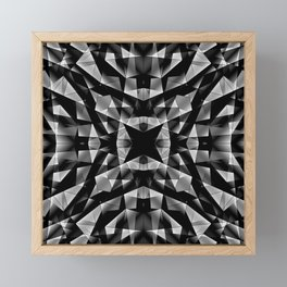 Kaleidoscopic of chaotic black and white glass fragments, irregular cubic figures and ice floes. Framed Mini Art Print