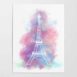 Eiffel Tower Water Color Sketch Poster