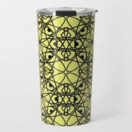 Black fishnet pattern on a bright yellow background Travel Mug