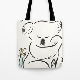 Sweet Koala in Tree with Green and Gold Tote Bag