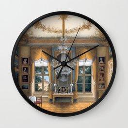 Interior Portrait, Le salon jaune de la reine Louise de Prusse palais de Potsdam by Hans Giersbeg Wall Clock