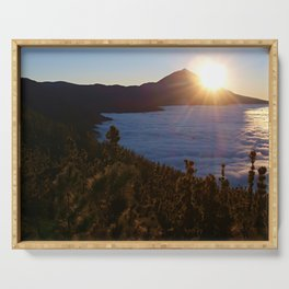 Sunset Canary Islands forest and Volcano Teide in Tenerife Serving Tray