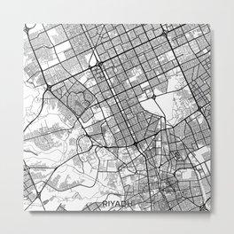 Riyadh Map Gray Metal Print