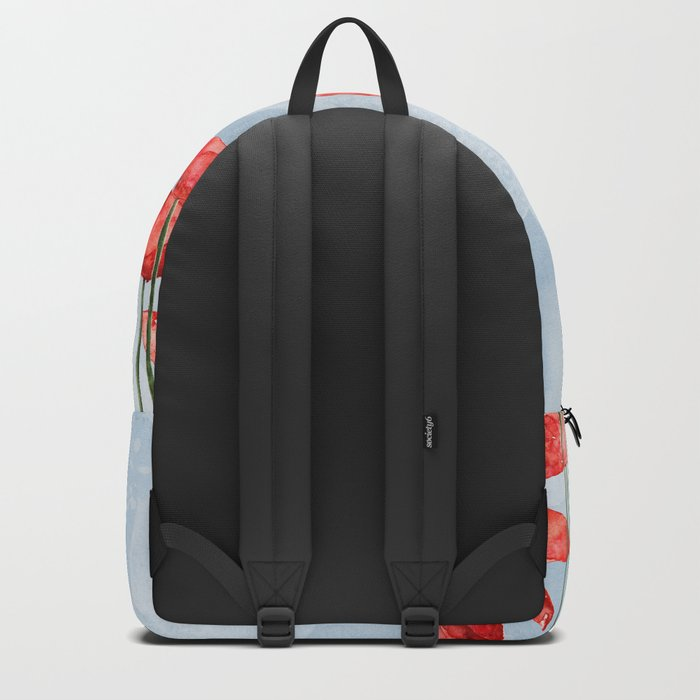 Poppyfield poppies poppy blue sky- watercolor artwork Backpack