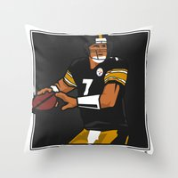steelers Throw Pillows featuring Big Ben - Steelers QB by lockerroom51