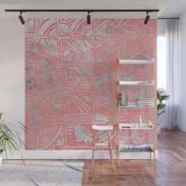 Modern abstract faux silver coral geometric tribal Wall Mural