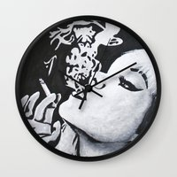 smoking Wall Clocks featuring Smoking by Fallon Chase