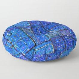 V2 Calm Blue Traditional Moroccan Cloth Texture. Floor Pillow