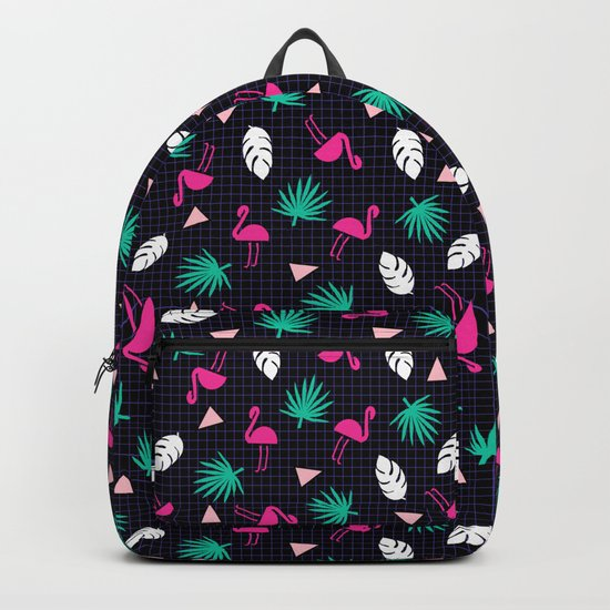 The Dillio - palm springs memphis throwback grid pattern flamingo tropical chilled vibes Backpack