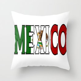 Mexico Font with Mexican Flag Throw Pillow