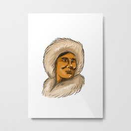 Eskimo Inuit Hooded Parka Watercolor Metal Print