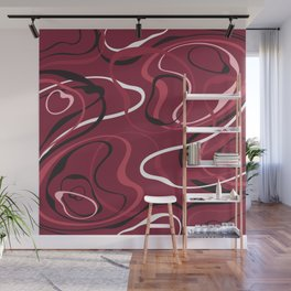 Pink Red Black And White Swirls On Cranberry Abstract Design Wall Mural