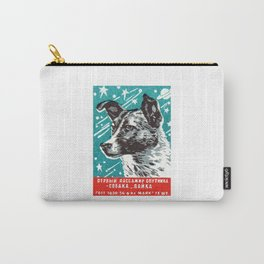 1950s Laika Space Dog Russian Matchbox Label Carry-All Pouch