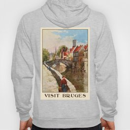 Vintage retro style Bruges travel advertising Hoody