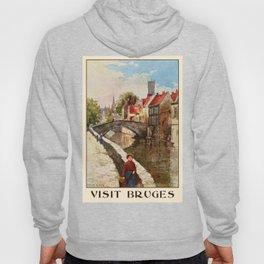 Vintage retro style Bruges travel advertising Hoody