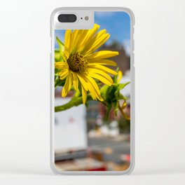 Yellow Flower in NYC Clear iPhone Case