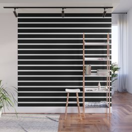 Black and White Horizontal Stripes Pattern Wall Mural