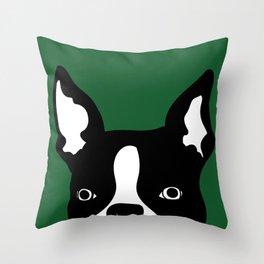 boston terrier green Throw Pillow