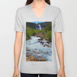 Geraldine Waterfall located in Jasper National Park, Canada Unisex V-Neck