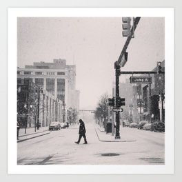 Snow Day in Detroit Art Print