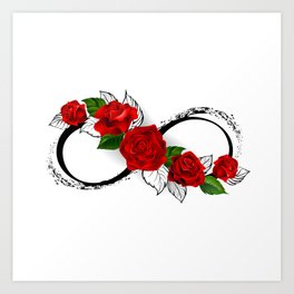 Infinity Symbol with Red Roses Art Print