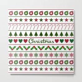 Love Christmas Motifs Pattern Green White Metal Print