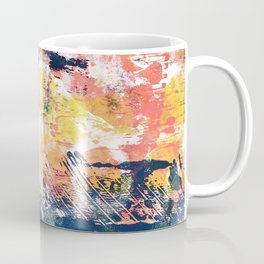 032.5: a vibrant abstract design in yellow pink and blue by Alyssa Hamilton Art Coffee Mug