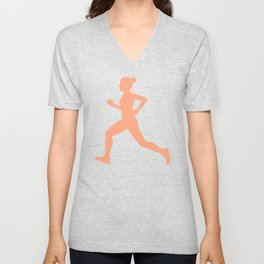 Grey and Pastel Running Girl Pattern Unisex V-Neck