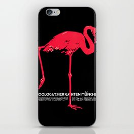 Vintage Pink flamingo Munich Zoo travel ad iPhone Skin