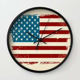 Distressed American Flag Wall Clock